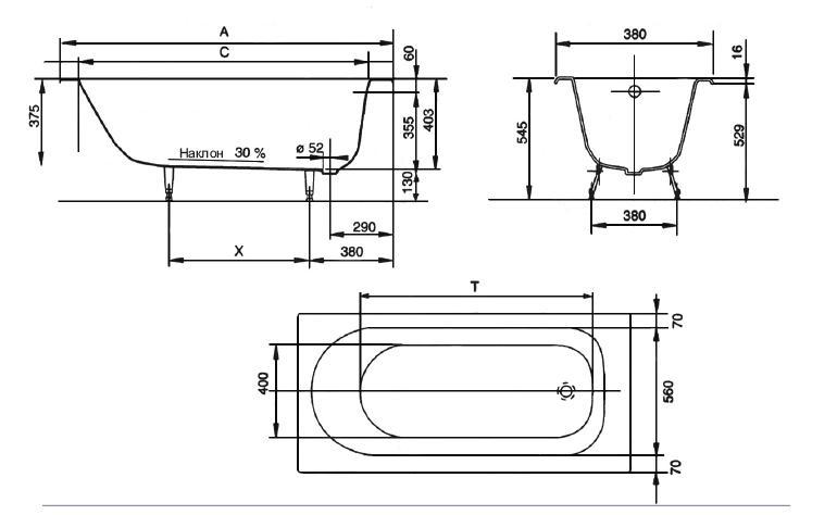 Схема монтажа чугунной ванны